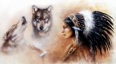 picture of headdress  - A beautiful airbrush painting of a young indian woman wearing a gorgeous feather headdress with an image of two white horse spirits hovering above her palm - JPG