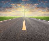 pic of crucifix  - Asphalt road and crucifix with sky background - JPG