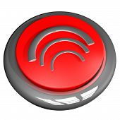 foto of fi  - Wi fi symbol over button 3d render isolated over white - JPG