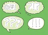 stock photo of obscene  - Four loud expression icons in dialog bubbles - JPG