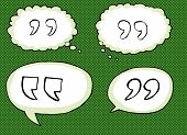 picture of quotation mark  - Hand drawn cartoon quotation marks over green - JPG