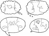 picture of broken heart flower  - Outlined dialog bubbles with people in relationships - JPG