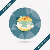 foto of cream puff  - Cream Puffs Flat Icon With Long Shadow - JPG