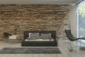 picture of futon  - 3d Rendering of Bed in Modern Bedroom with Airy Balcony and Exposed Brick Wall - JPG