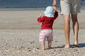 picture of father daughter  - young father with his daughter on the island sylt germany - JPG