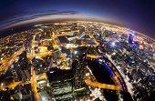 image of cbd  - Fisheye view of Melbourne CBD at night  - JPG