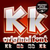 foto of letter k  - Vector set of original glossy white alphabet with gold border - JPG