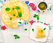 image of curd  - blinis pie with the lemon curd - JPG