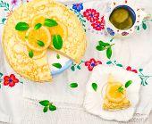 foto of curd  - blinis pie with the lemon curd - JPG