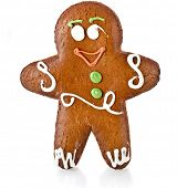 picture of ginger bread  - Fun ginger gingerbread man isolated on white background - JPG