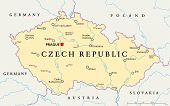 stock photo of political map  - Czech Republic Political Map with capital Prague - JPG