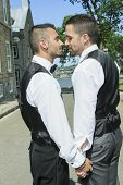 image of gay wedding  - Portrait of a loving gay male couple on their wedding day - JPG
