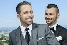 image of gay wedding  - Portrait of a loving gay male couple on their wedding day.