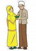 stock photo of muslim man  - Indonesian muslim man and woman reading a koran together - JPG