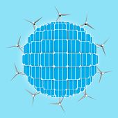 image of wind energy  - Planet with solar panels and wind turbines around to generalize clean energies - JPG