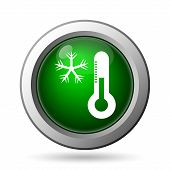 foto of fahrenheit thermometer  - Snowflake with thermometer icon - JPG