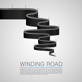 image of long winding road  - Winding road to the top - JPG