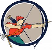 stock photo of bow arrow  - Illustration of an archer aiming with long bow and arrow viewed from side set inside circle done in cartoon style - JPG