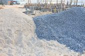 foto of sand gravel  - piles gravel and sand for construction - JPG