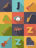 stock photo of wind instrument  - Jazz Music Poster Flat Design Vector Illustration - JPG