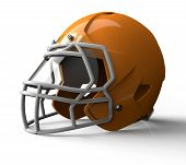 foto of football helmet  - orange football helmet isolated on white background - JPG