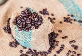 foto of coffee coffee plant  - Coffee beans in coffee bag on sack surface background - JPG