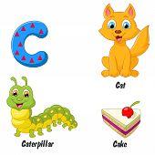 stock photo of caterpillar cartoon  - Vector illustration of Cartoon C alphabet isolated on white background - JPG