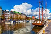 picture of old boat  - Scenic summer view of the Old Port pier architecture with ships - JPG
