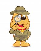 picture of private investigator  - Clipart picture of a detective dog cartoon character - JPG