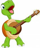 picture of turtle shell  - Vector illustration of Cartoon turtle playing guitar - JPG