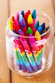 pic of pastel colors  - Colorful pastel crayons in glass holder - JPG