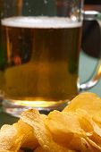 image of potato chips  - potato chips and beer - JPG