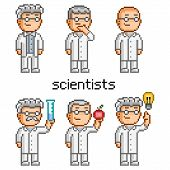 image of mad scientist  - Vector pixel art scientist - JPG