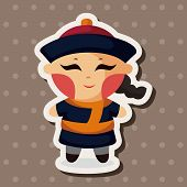 stock photo of cartoon people  - Chinese People Theme Elements - JPG