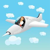 pic of fighter plane  - illustration of businessman working on laptop navigating a fighter plane - JPG