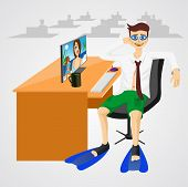 picture of flipper  - illustration of businessman sitting in an office at a table in shorts with swim glasses and flippers - JPG
