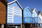 pic of beach hut  - A row of beach huts in Essex England - JPG