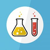 foto of chemical reaction  - Chemical substance in flask and test tube  - JPG