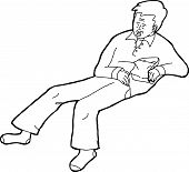 stock photo of outline  - Outline illustration of sleeping man outline with chips - JPG