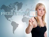 pic of productivity  - Young woman press digital Productivity button on interface in front of her - JPG