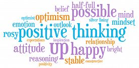 stock photo of think positive  - Positive thinking word cloud on a white background - JPG