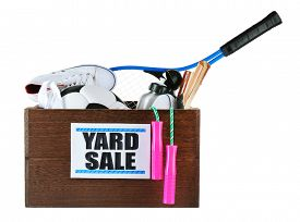 stock photo of yard sale  - Box of unwanted stuff ready for yard sale isolated on white - JPG