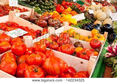 Colorful Fresh Vegetables Market In France