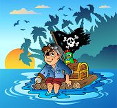 stock photo of flatboat  - Pirate sailing on wooden raft  - JPG