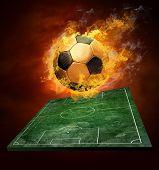 Постер, плакат: Горячие футбольный мяч на скорости в пламени пожаров
