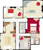 Постер, плакат: Типичный планировка дома в цвета с мебелью