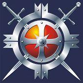stock photo of armorial-bearings  - Iron buckler and cross swords on dark blue background - JPG