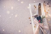 Christmas Table Place Setting, Copy Space Fairy Light Toning Background poster