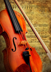 stock photo of musical instrument string  - Retro musical  grunge violin background - JPG