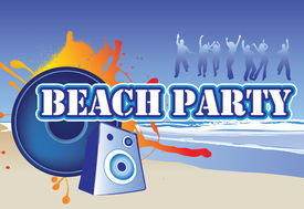 image of beach party  - illustration of a beach party invite or flyer - JPG
